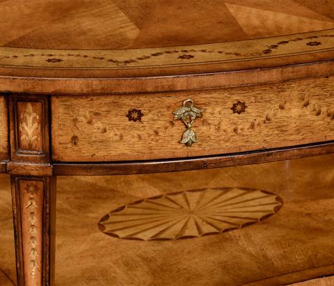 Jonathan Charles - Sheraton Satinwood Oval Coffee Table - 492661