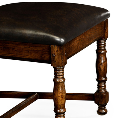 Jonathan Charles - Oak Country Chair Leather Upholstery - 493324