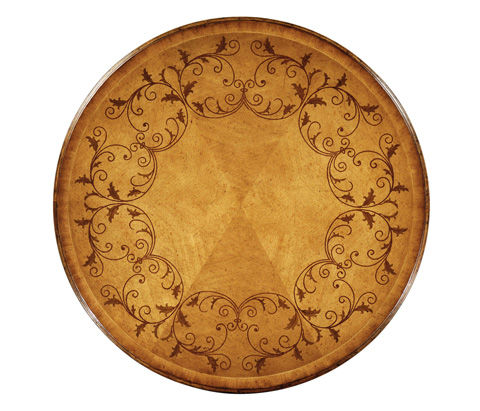 Jonathan Charles - Walnut Lamp Table with Satinwood Inlaid Top - 493577