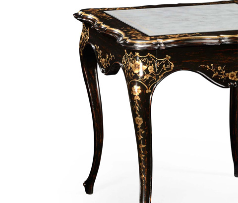 Jonathan Charles - Black and Gilt Floral Side Table Eglomise Top - 494306