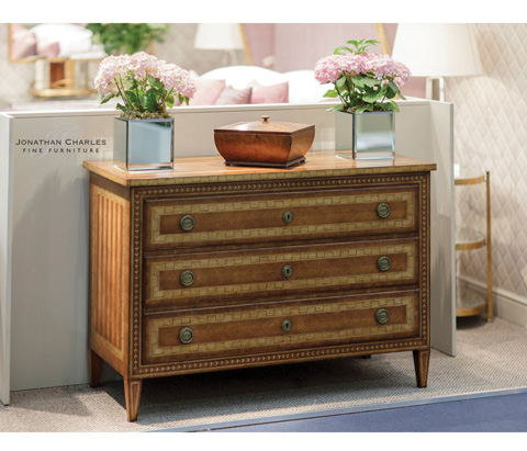 Jonathan Charles - Satinwood Directoire Large Chest of Drawers - 494512