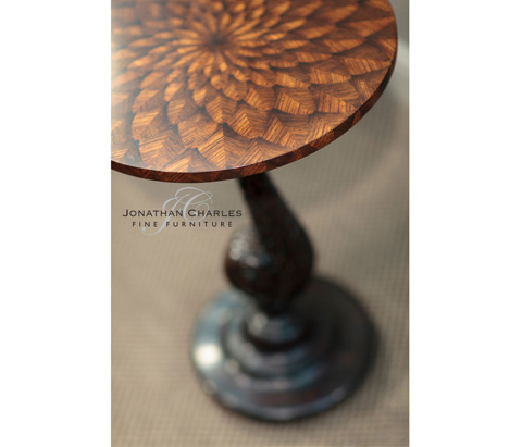 Jonathan Charles - Feather Inlay Hand Carved Side Table - 494538