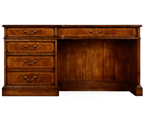 Jonathan Charles - Crotch Walnut Compact Single Pedestal Desk - 494999-CWM