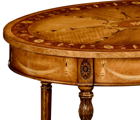 Jonathan Charles - Sheraton Style Swagged Oval Side Table - 495092