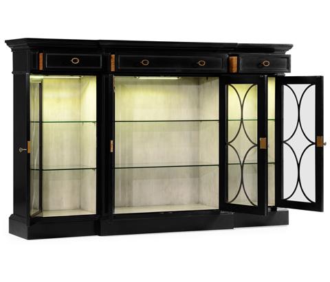 Jonathan Charles - Black Painted 4-Door Breakfront Display Cabinet - 495144
