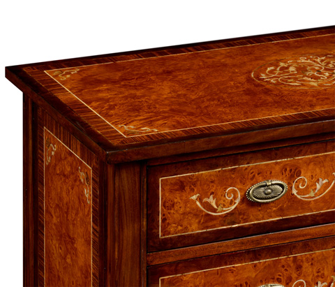 Jonathan Charles - Burl and Mother of Pearl Tall Chest of Drawers - 499325