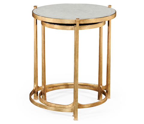 Jonathan Charles - Gilded Iron Round Nest Of Two Tables - 494141-G