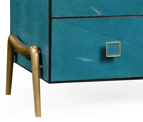 Jonathan Charles - Teal Faux Shagreen And Brass Legged Chest - 495201