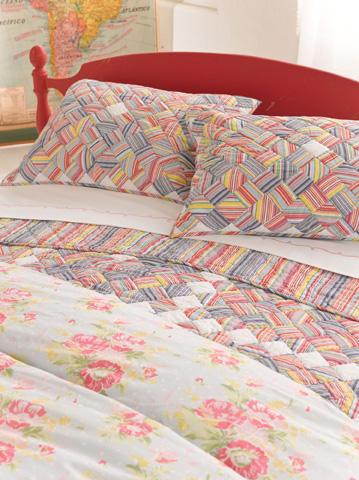 Pine Cone Hill, Inc. - Embroidered Hem White/Pink Sheet Set - King - SESPK