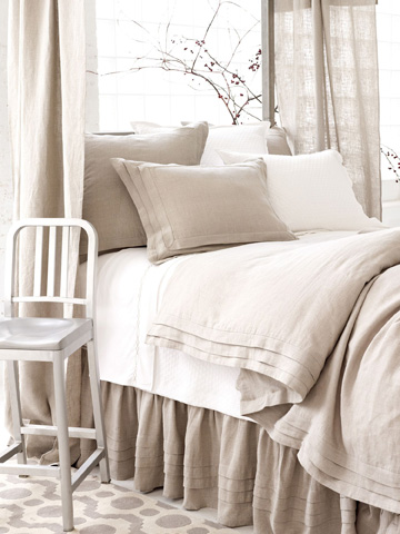 Pine Cone Hill, Inc. - Pleated Linen Natural Sham - Standard - PLNSHS