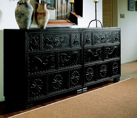 Hickory Chair - Carved Black Chest - 4087-70
