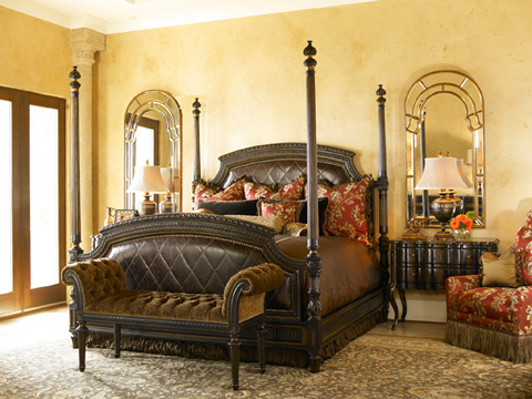 Marge Carson - California King Upholstered Poster Bed - TRC91