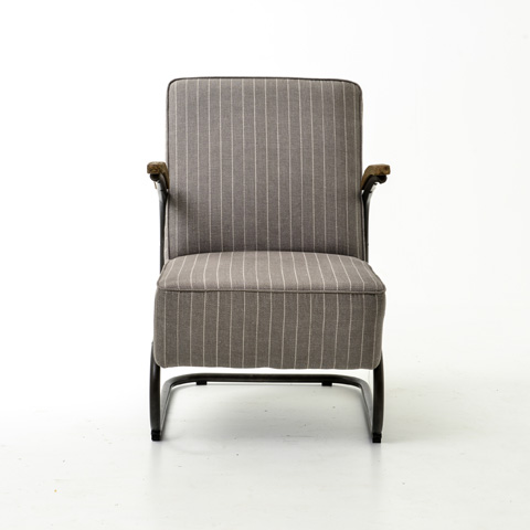 Four Hands - Grey Striped Miles Club Chair - CIRD-48E1C5-E7