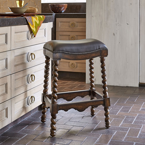 Ambella Home Collection - Coventry Dark Leather Barstool - 20033-510-002