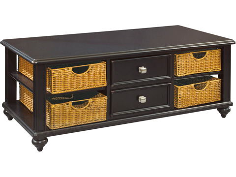American Drew - Camden Dark Cocktail Table with Wicker Baskets - 919-910