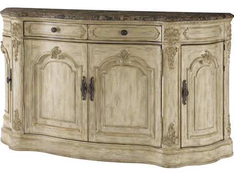 American Drew - White Veil Buffet with Mable Top - 217-857W