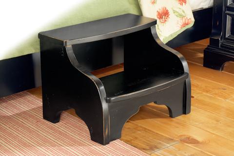 American Woodcrafters - Heirloom Black Distressed Footstool - 2900-775