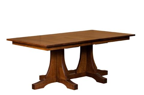 Borkholder Furniture - Double Pedestal Mission Solid Top Dining Table - NC-8006STX