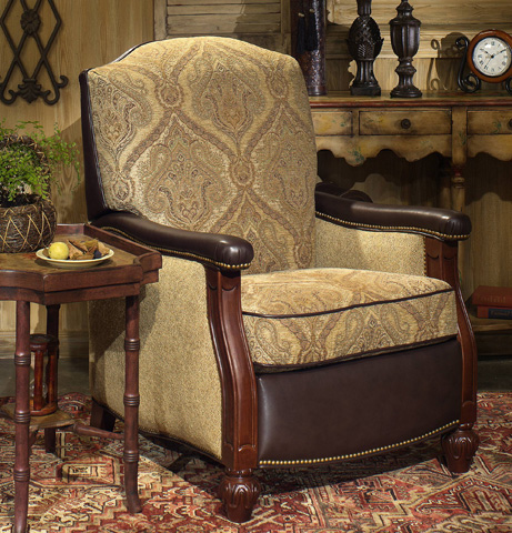Bradington Young - Hitchcock High Leg Reclining Lounger W/Brass Nails - 4294