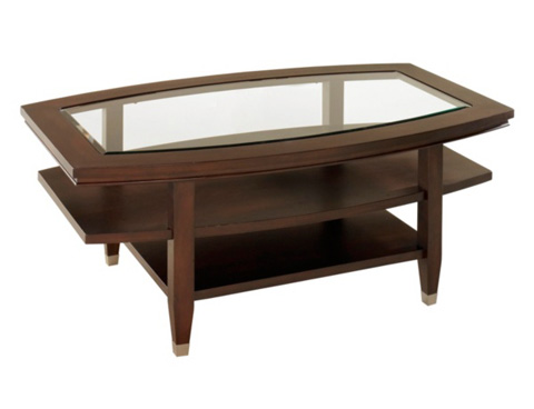Broyhill Furniture - Glass Top Oval Cocktail Table - 3312-01
