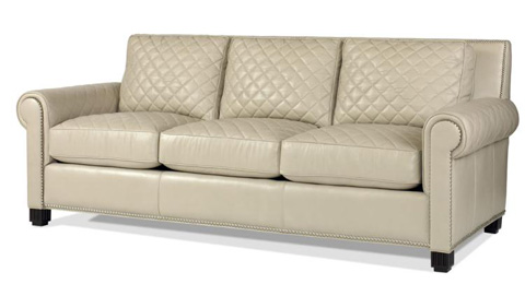 Century Furniture - Leather Quilted Sofa - PLR-5702-FROST