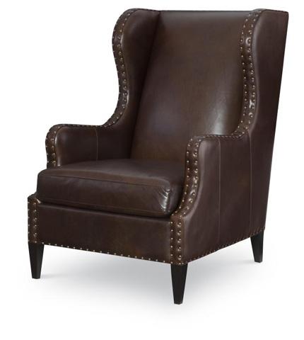 Century Furniture - Leather Wing Chair - PLR-9406-RAISIN