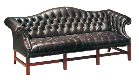 Classic Leather - Button Tufted Chippendale Sofa - 386