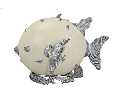Curate by Artistica Metal Design - Puffer Fish Nestled on a Bed of Seaweed - AC13-037