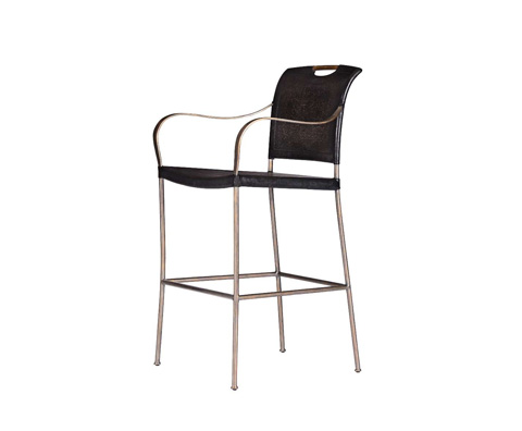 Curate by Artistica Metal Design - Worn Black Canvas and Iron Barstool - C404-040