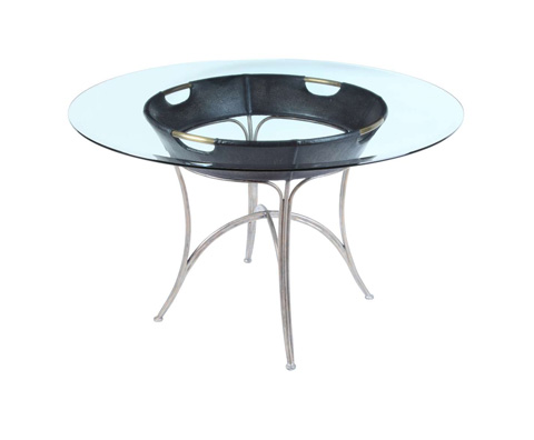Curate by Artistica Metal Design - Worn Black Canvas and Iron Dining Table - C404-100