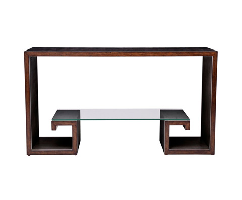 Curate by Artistica Metal Design - Worn Black Canvas Greek Key Console Table - C407-210