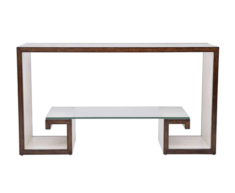 Curate by Artistica Metal Design - Ivory Canvas Greek Key Console Table - C408-210