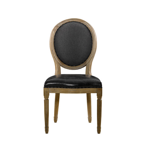 Curations Limited - Slate Leather and Wool Vintage Louis Side Chair - 8827.1104