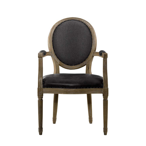Curations Limited - Slate Leather and Wool Vintage Louis Arm Chair - 8827.1105