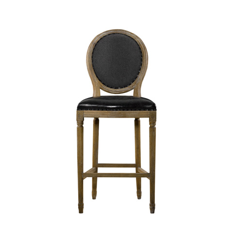 Curations Limited - Slate Leather and Wool High Bar Stool - 8828.2001