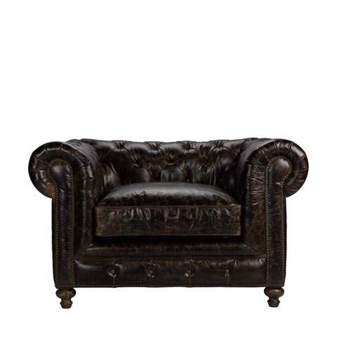 Curations Limited - Brown Cigar Club Leather Armchair - 7841.3002.1