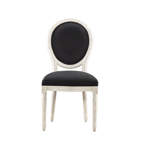 Curations Limited - Vintage Louis Black Linen Side Chair - 8827.2005