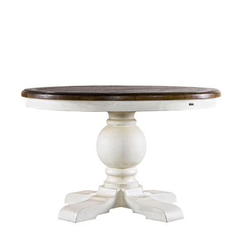 Curations Limited - 48' Round Trestle Vintage White Table - 8831.2201.M