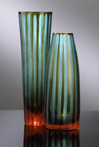 Cyan Designs - Tall Cyan and Orange Striped Vase - 01128