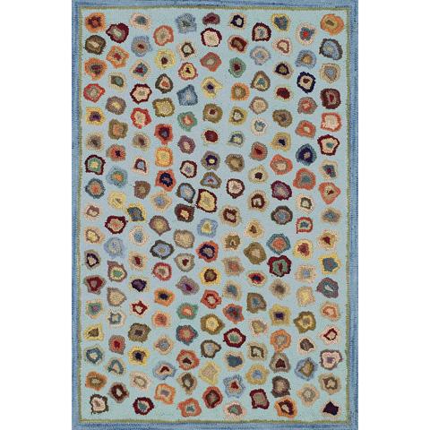 Dash & Albert Rug Company - Cat's Paw Blue Wool Micro Hooked 8x10 Rug - RDA056-810