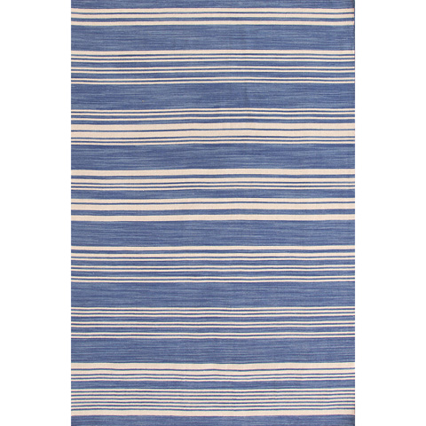 Dash & Albert Rug Company - Cottage Stripe French Blue Wool Woven 8x10 Rug - RDA329-810