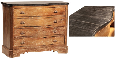 Dovetail Furniture - Teak Dresser with Iron Top - AK209