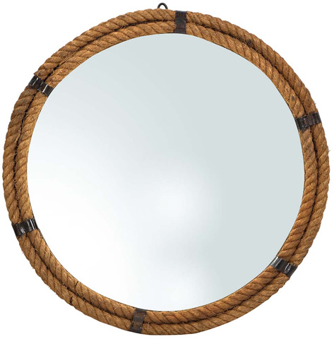Dovetail Furniture - Steel Mirror with Rope - AL267