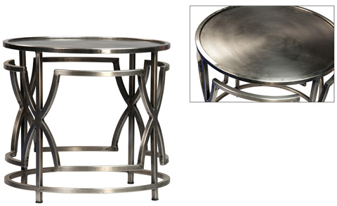 Dovetail Furniture - Iron Sidetable in Nickel Finish - AL339