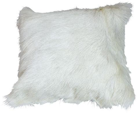 Dovetail Furniture - Fur Pillow in White - DOV3235