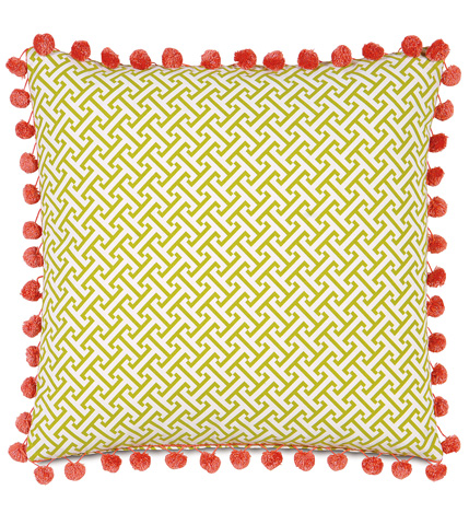 Eastern Accents - Chive Sparrow Pillow With Ball Trim - ARC-05