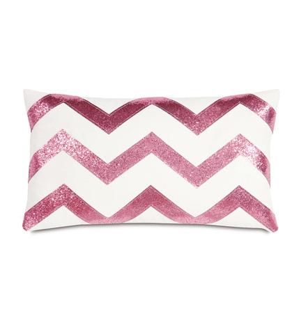 Eastern Accents - Sparkle Pink Chevron Pillow - EPR-02