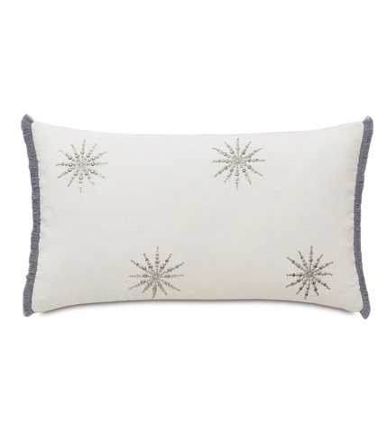 Eastern Accents - Esmi Silver Pillow with Brush Fringe - EZR-08