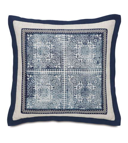 Eastern Accents - Ledger White Block-Printed Pillow - MAR-02