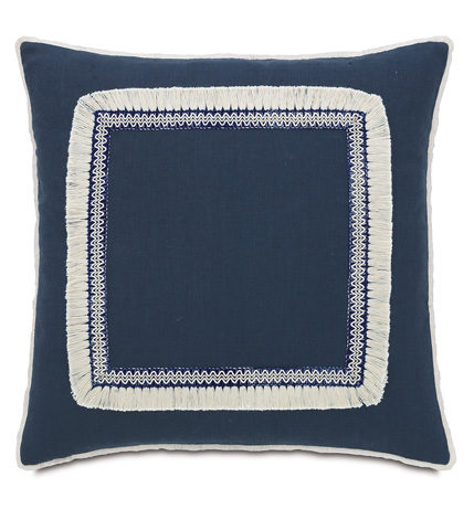 Eastern Accents - Breeze Indigo Pillow with Fringe - MAR-08